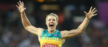 Dani Stevens celebrates silver in the discus at the 2017 IAAF World Championships (Getty Images)