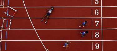 Jasmin Stowers falls at the final hurdle at the London Anniversary Games (Getty Images)