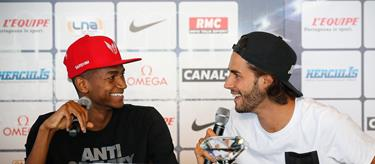 Mutaz Barshim and Gianmarco Tamberi at the 2016 Monaco Diamond League (Phillippe Fitte)