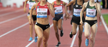 Shelby Houlihan wins the 1500m at the IAAF Diamond League meeting in Lausanne (Gladys Chai von der Laage)